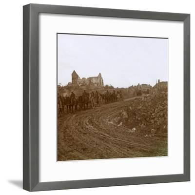 Mounted soldiers, Somme, northern France, c1914-c1918-Unknown-Framed Photographic Print