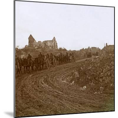 Mounted soldiers, Somme, northern France, c1914-c1918-Unknown-Mounted Photographic Print