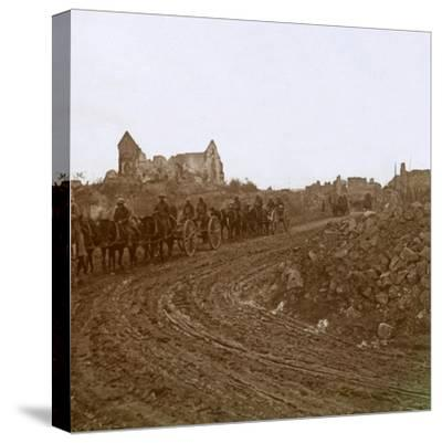 Mounted soldiers, Somme, northern France, c1914-c1918-Unknown-Stretched Canvas Print