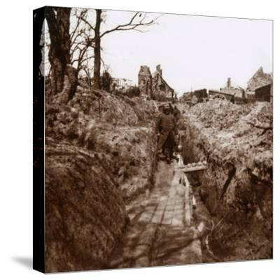 Trenches, Somme, northern France, c1914-c1918-Unknown-Stretched Canvas Print