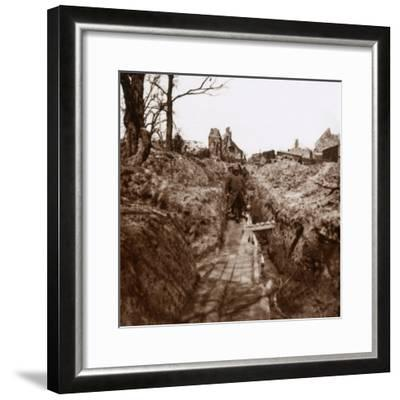 Trenches, Somme, northern France, c1914-c1918-Unknown-Framed Photographic Print