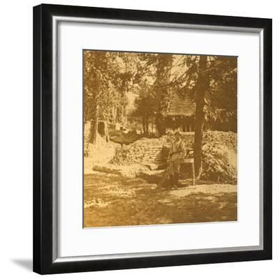 Soldier outside trench, Bois des Loges, northern France, c1914-c1918-Unknown-Framed Photographic Print