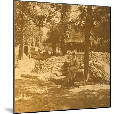 Soldier outside trench, Bois des Loges, northern France, c1914-c1918-Unknown-Mounted Photographic Print