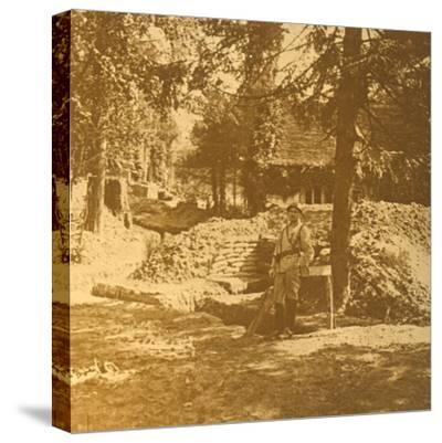 Soldier outside trench, Bois des Loges, northern France, c1914-c1918-Unknown-Stretched Canvas Print