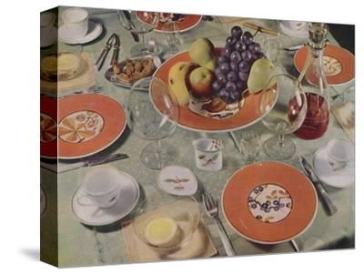 'Dessert - In this table arrangement the fruit service is Royal Copenhagen faience', 1939-Unknown-Stretched Canvas Print