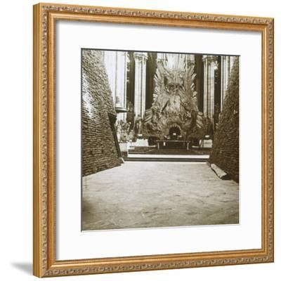 Interior of the cathedral, Amiens, northern France, c1914-c1918-Unknown-Framed Photographic Print