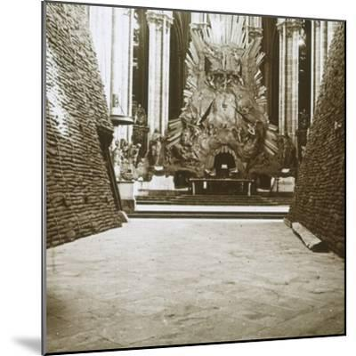 Interior of the cathedral, Amiens, northern France, c1914-c1918-Unknown-Mounted Photographic Print