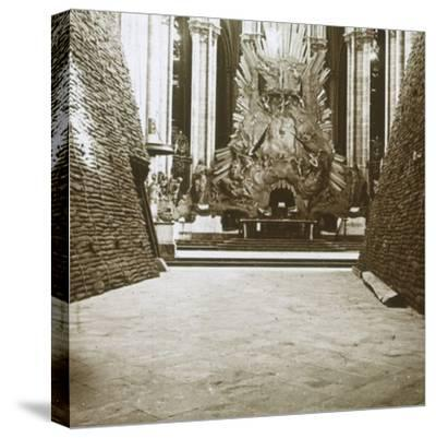Interior of the cathedral, Amiens, northern France, c1914-c1918-Unknown-Stretched Canvas Print