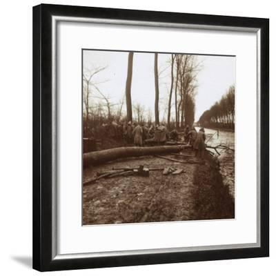 Felling trees, Noyon, northern France, c1914-c1918-Unknown-Framed Photographic Print