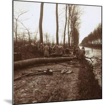 Felling trees, Noyon, northern France, c1914-c1918-Unknown-Mounted Photographic Print