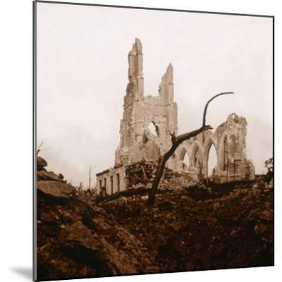 Ruined church, Ablain-Saint-Nazaire, Northern France, c1914-c1918-Unknown-Mounted Photographic Print