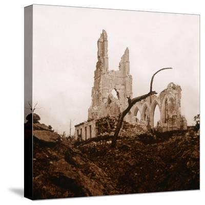 Ruined church, Ablain-Saint-Nazaire, Northern France, c1914-c1918-Unknown-Stretched Canvas Print