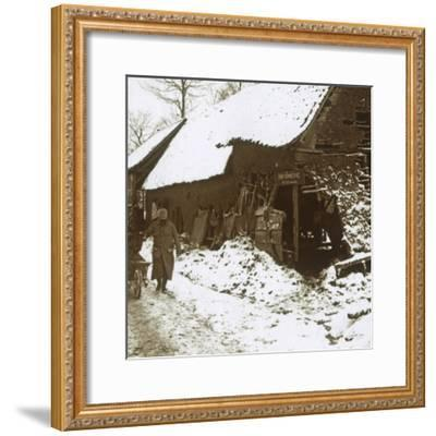 Veterinary station for horses, Calonne, northern France, c1914-c1918-Unknown-Framed Photographic Print