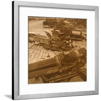 Heavy artillery and machinery, British camp, northern France, c1914-c1918-Unknown-Framed Photographic Print