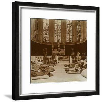 Makeshift barracks in a church, Marne, northern France, 1914-Unknown-Framed Photographic Print