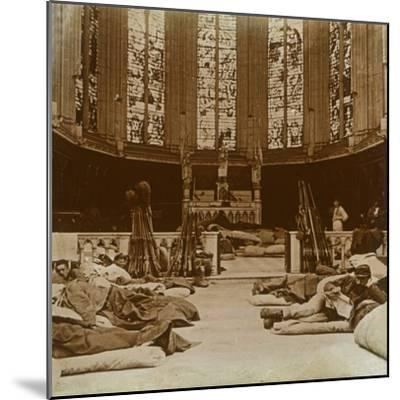 Makeshift barracks in a church, Marne, northern France, 1914-Unknown-Mounted Photographic Print