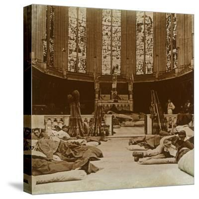 Makeshift barracks in a church, Marne, northern France, 1914-Unknown-Stretched Canvas Print