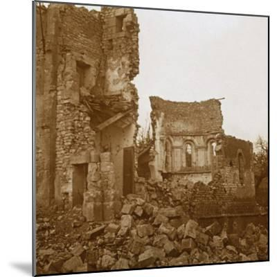 Ruined church, Trésauvaux, northern France, c1914-c1918-Unknown-Mounted Photographic Print