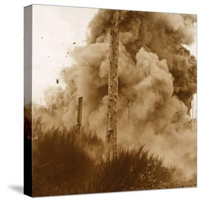Explosion of a mine, Vosges, eastern France, c1914-c1918-Unknown-Stretched Canvas Print