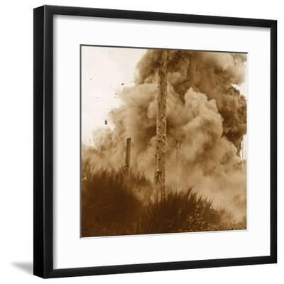 Explosion of a mine, Vosges, eastern France, c1914-c1918-Unknown-Framed Photographic Print