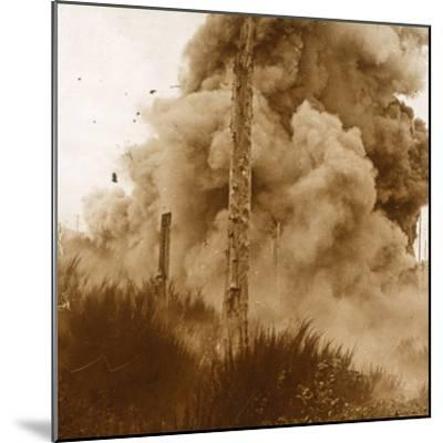 Explosion of a mine, Vosges, eastern France, c1914-c1918-Unknown-Mounted Photographic Print