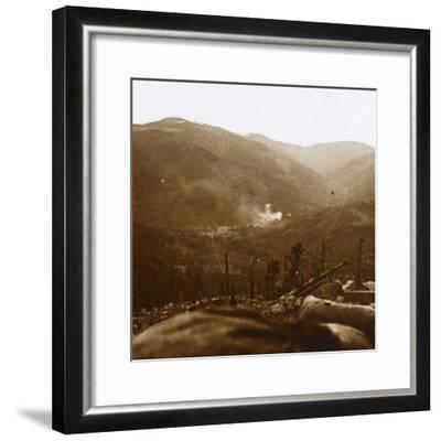 Bombardment, Metzeral, northern France, c1914-c1918-Unknown-Framed Photographic Print