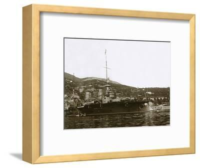 Battleship at Villefranche, France, c1914-c1918-Unknown-Framed Photographic Print
