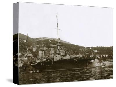 Battleship at Villefranche, France, c1914-c1918-Unknown-Stretched Canvas Print