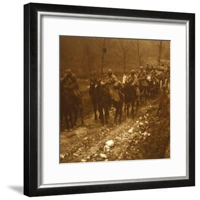 Soldiers on the move, c1914-c1918-Unknown-Framed Photographic Print