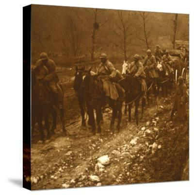 Soldiers on the move, c1914-c1918-Unknown-Stretched Canvas Print