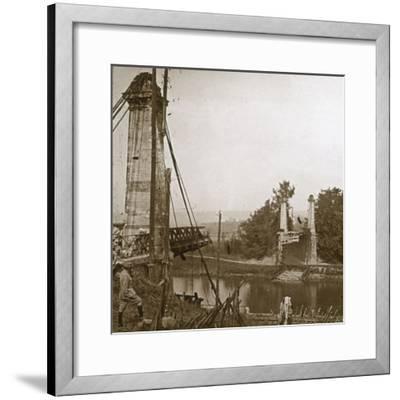 Damaged bridge, Dormans, northern France, c1914-c1918-Unknown-Framed Photographic Print