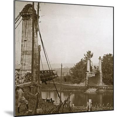 Damaged bridge, Dormans, northern France, c1914-c1918-Unknown-Mounted Photographic Print