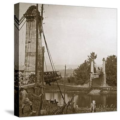 Damaged bridge, Dormans, northern France, c1914-c1918-Unknown-Stretched Canvas Print