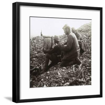 German signallers outside the Fortress of Vaux, Verdun, northern France, c1914-c1918-Unknown-Framed Photographic Print