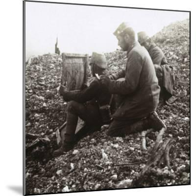 German signallers outside the Fortress of Vaux, Verdun, northern France, c1914-c1918-Unknown-Mounted Photographic Print