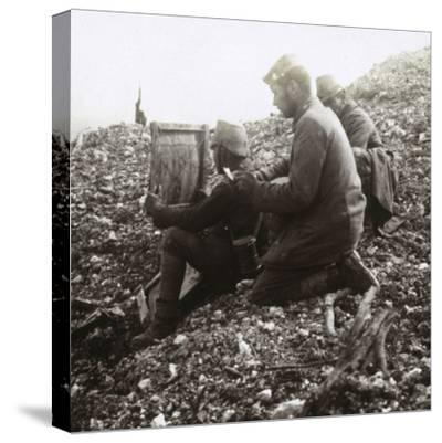 German signallers outside the Fortress of Vaux, Verdun, northern France, c1914-c1918-Unknown-Stretched Canvas Print