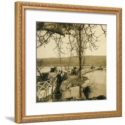 Bridge over the River Meuse at Dugny, northern France, c1914-c1918-Unknown-Framed Photographic Print