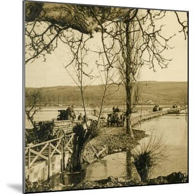 Bridge over the River Meuse at Dugny, northern France, c1914-c1918-Unknown-Mounted Photographic Print