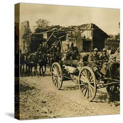 Artillery passing through Beauzée, northern France, c1914-c1918-Unknown-Stretched Canvas Print