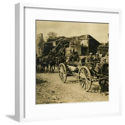 Artillery passing through Beauzée, northern France, c1914-c1918-Unknown-Framed Photographic Print