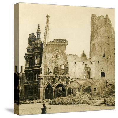 Clock Tower and Hôtel de Ville, Arras, northern France, c1914-c1918-Unknown-Stretched Canvas Print
