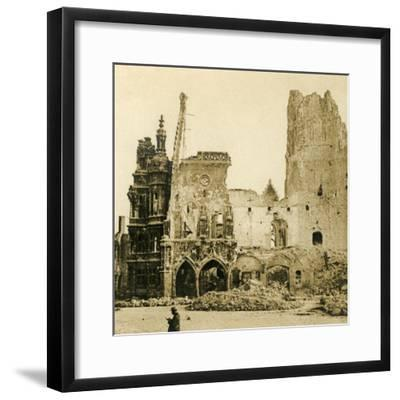 Clock Tower and Hôtel de Ville, Arras, northern France, c1914-c1918-Unknown-Framed Photographic Print
