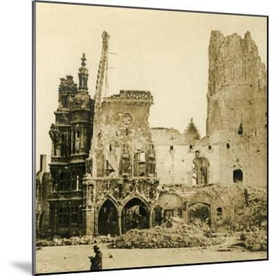 Clock Tower and Hôtel de Ville, Arras, northern France, c1914-c1918-Unknown-Mounted Photographic Print