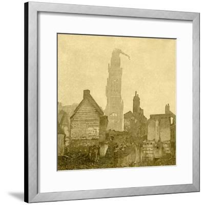 Damaged spire of Notre-Dame de Brebières, Albert, northern France, c1915-c1918-Unknown-Framed Photographic Print