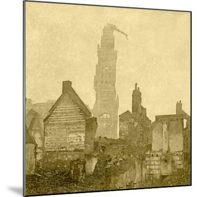 Damaged spire of Notre-Dame de Brebières, Albert, northern France, c1915-c1918-Unknown-Mounted Photographic Print