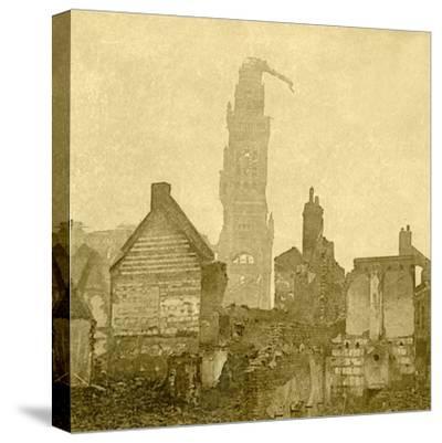 Damaged spire of Notre-Dame de Brebières, Albert, northern France, c1915-c1918-Unknown-Stretched Canvas Print