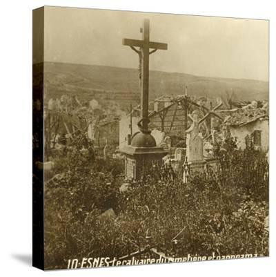 Calvary at the cemetery of Esnes, northern France, c1914-c1918-Unknown-Stretched Canvas Print