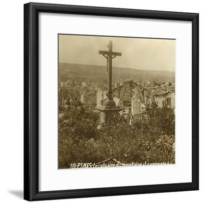 Calvary at the cemetery of Esnes, northern France, c1914-c1918-Unknown-Framed Photographic Print