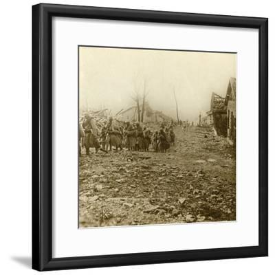 Relief infantry at the attack of Douaumont, northern France, 1916-Unknown-Framed Photographic Print