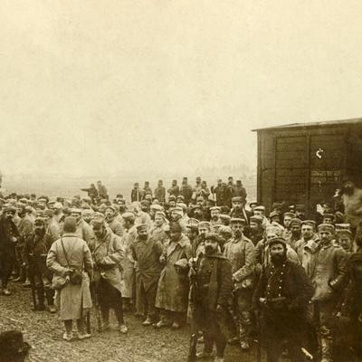 Prisoners at Perthes les Hurlus, northern France, c1914-c1918-Unknown-Framed Photographic Print